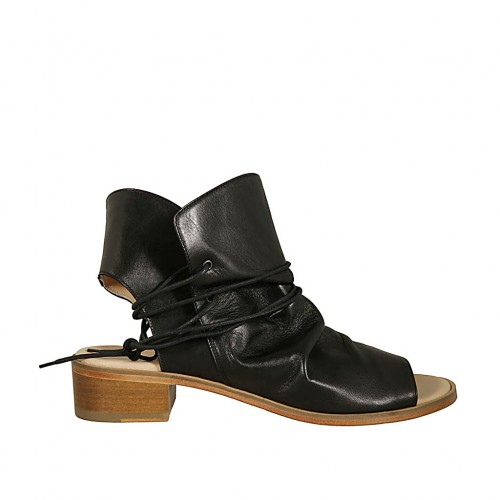 Woman's highfronted sandal with laces in black leather heel 4 - Available sizes:  46
