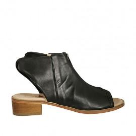 Sandalia con frontal alto y cremallera para mujer en piel negra tacon 4 - Tallas disponibles:  42, 43, 44, 45, 46