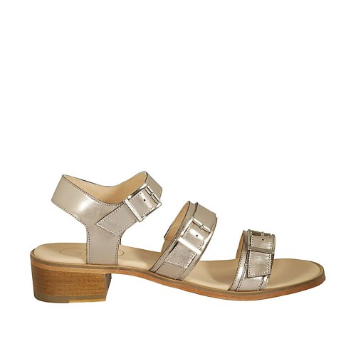 Woman's sandal with adjustable buckles in platinum laminated leather heel 4 - Available sizes:  42, 43, 44, 45