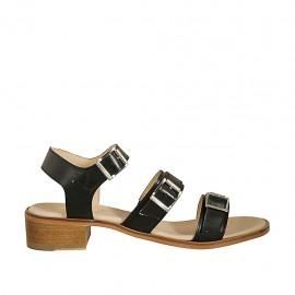 Sandalia para mujer con hebillas ajustables en piel negra tacon 4 - Tallas disponibles:  42, 43, 44, 45, 46
