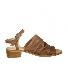 Sandalia para mujer con cinturon en piel avellana tacon 4 - Tallas disponibles:  42, 43, 44, 45, 46