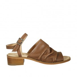 Sandalo da donna con cinturino in pelle nocciola tacco 4 - Misure disponibili: 42, 43, 44, 45, 46