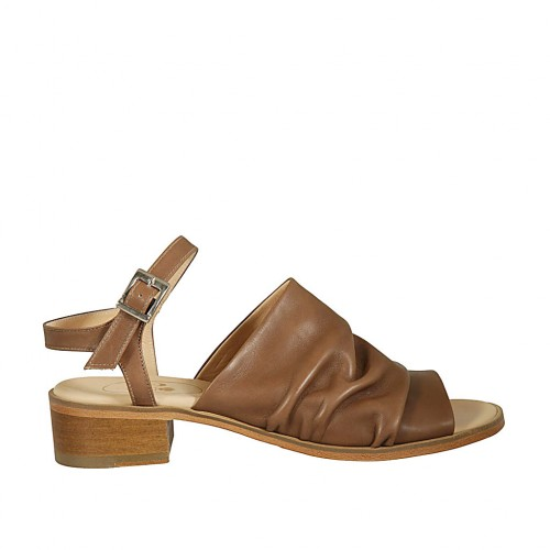 Woman's strap sandal in hazelnut leather heel 4 - Available sizes:  42, 44