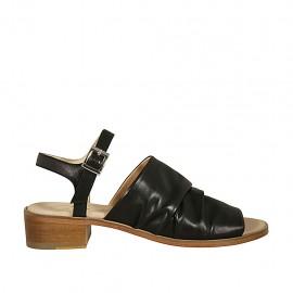 Sandalia para mujer con cinturon en piel negra tacon 4 - Tallas disponibles:  42, 43, 44, 45, 46