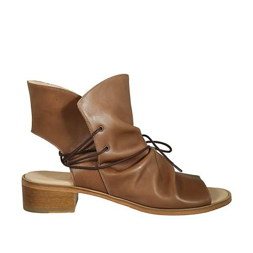 Woman's highfronted sandal with laces in hazelnut leather heel 4 - Available sizes:  43, 44