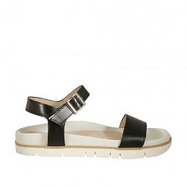 Sandalia para mujer con cinturon en piel negra cuña 2 - Tallas disponibles:  42, 43, 44, 45, 46