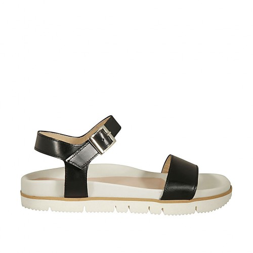 Woman's strap sandal in black leather wedge heel 2 - Available sizes:  43, 44, 46