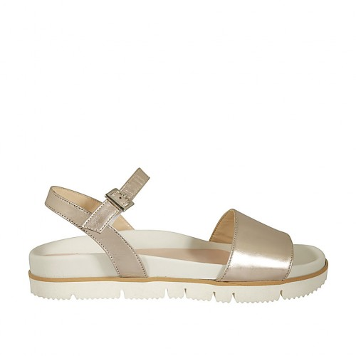 Woman's strap sandal in platinum laminated leather wedge heel 2 - Available sizes:  43