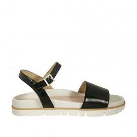 Sandalia para mujer con cinturon en charol negro cuña 2 - Tallas disponibles:  42, 43, 44, 45, 46