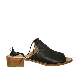 Sandalia para mujeres con cordones en piel negra tacon 4 - Tallas disponibles:  42, 43, 44, 45, 46