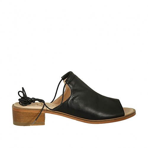 Woman's sandal with laces in black leather heel 4 - Available sizes:  42, 43