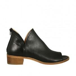 Zapato abierto en punta cerrado hasta el cuello para mujer con cremallera en piel negra tacon 4 - Tallas disponibles:  42, 43, 44, 45, 46