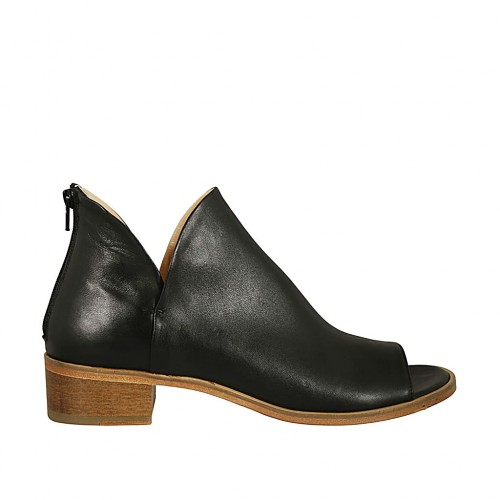 Woman's open toe highfronted shoe with zipper in black leather heel 4 - Available sizes:  43, 44, 46