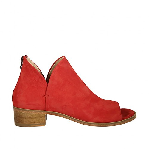 Woman's open shoe with zipper in red nubuck leather heel 4 - Available sizes:  43, 44