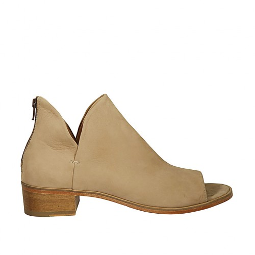 Woman's open shoe with zipper in beige nubuck leather heel 4 - Available sizes:  43, 44, 45