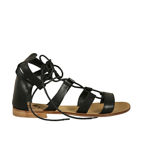Woman's laced gladiator open shoe in black leather heel 1 - Available sizes:  45