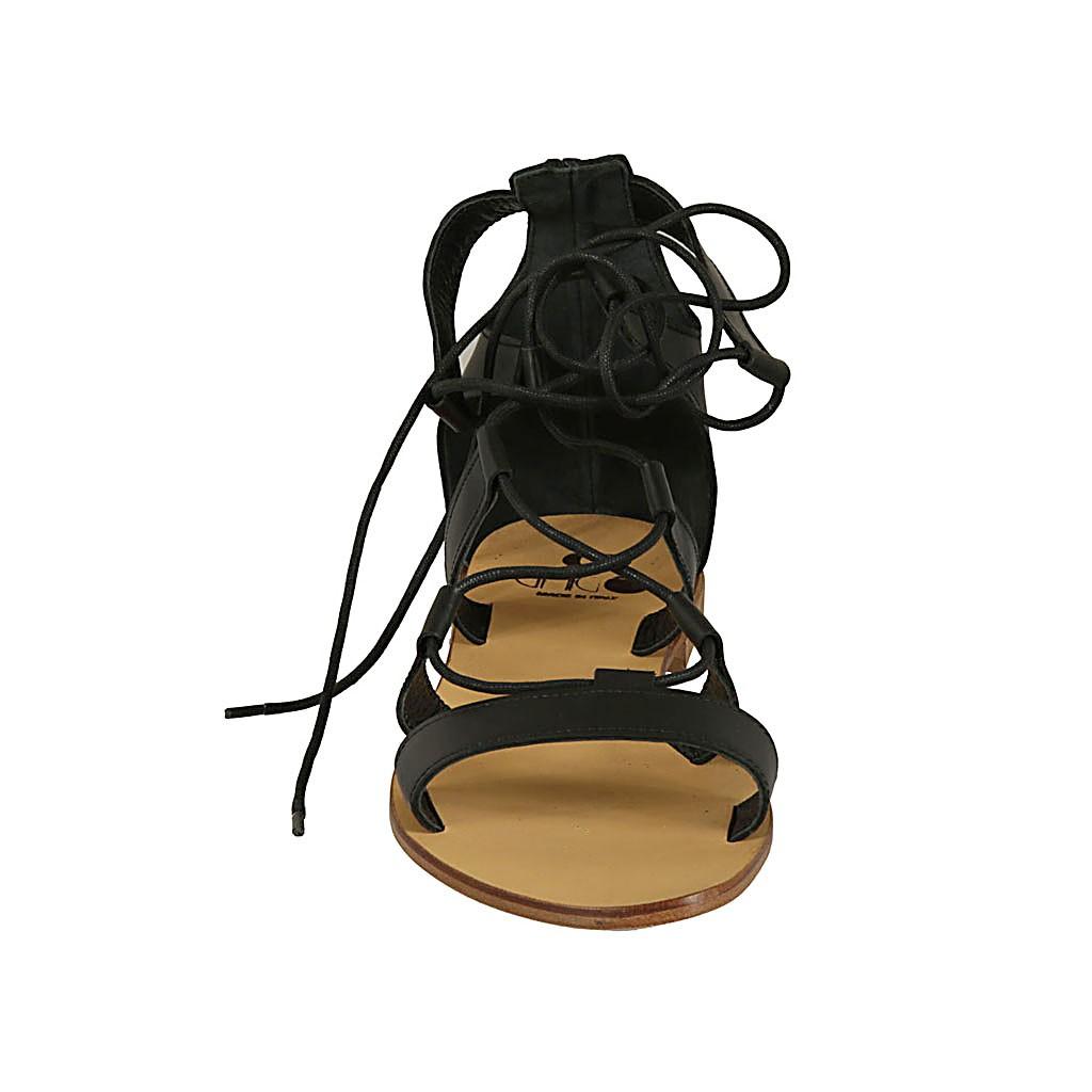 Chaussure spartiates ouvert à lacets pour femmes en cuir