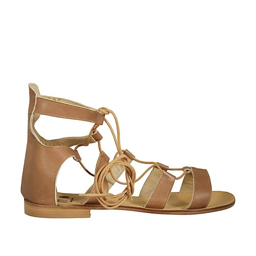Woman's laced gladiator open shoe in hazelnut leather heel 1 - Available sizes:  42, 43, 45