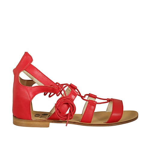 Woman's laced gladiator open shoe in red leather heel 1 - Available sizes:  42, 43, 44, 46