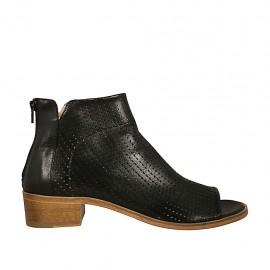 Zapato abierto en punta cerrado hasta el cuello para mujer con cremallera posterior en piel y piel perforada negra tacon 4 - Tallas disponibles:  42, 43, 44, 45, 46