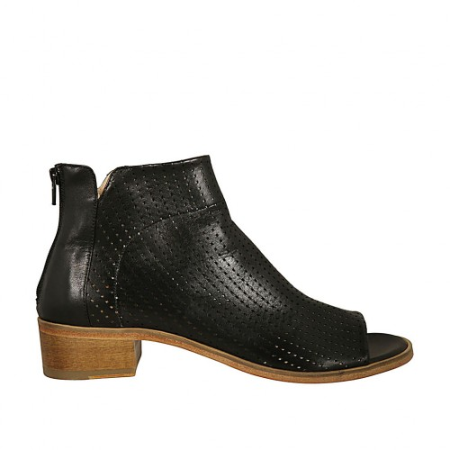 Woman's open toe highfronted shoe with back zipper in black leather and pierced leather heel 4 - Available sizes:  44