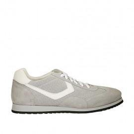 Zapato deportivo para hombre con cordones en gamuza y gamuza perforada gris y piel blanca - Tallas disponibles:  46, 47, 48
