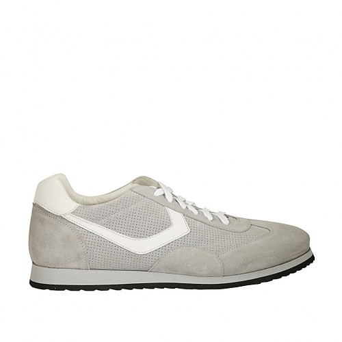Men's laced casual shoe in grey suede and pierced suede and white leather - Available sizes:  46