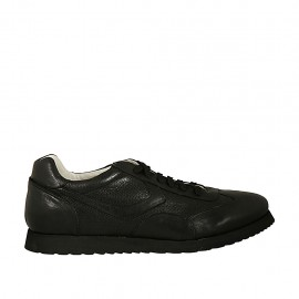 Laced sports shoe for men in black leather and pierced leather - Available sizes:  46, 47, 48, 49, 50