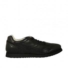 Zapato deportivo con cordones para hombres en piel y piel perforada negra - Tallas disponibles:  46, 47, 48
