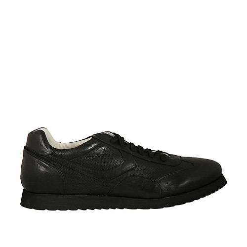 Laced sports shoe for men in black leather and pierced leather - Available sizes:  47