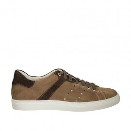Men's laced casual shoe in brown and hazelnut suede - Available sizes:  46, 47, 48, 49, 50