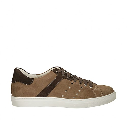 Men's laced casual shoe in brown and hazelnut suede - Available sizes:  46