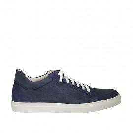 Chaussure sportif à lacets pour hommes en daim et nubuck perforé bleu - Pointures disponibles:  49