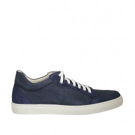 Men's laced casual shoe in blue suede and pierced nubuck leather - Available sizes:  46, 48, 49, 50