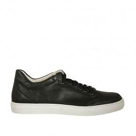 Chaussure sportif à lacets pour hommes en cuir et cuir perforé noir - Pointures disponibles:  46