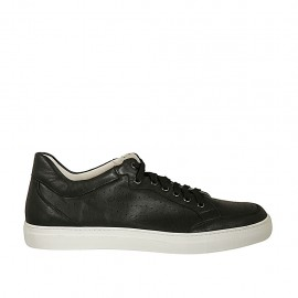 Men's laced casual shoe in black leather and pierced leather - Available sizes:  46, 47, 48, 49, 50