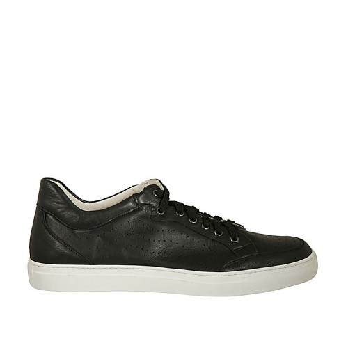 Men's laced casual shoe in black leather and pierced leather - Available sizes:  46