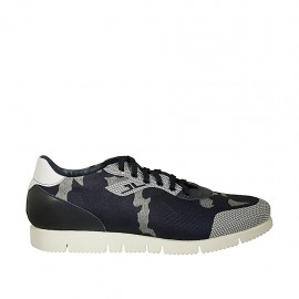 Men's laced casual shoe in white and blue leather and blue and grey fabric - Available sizes:  46, 47, 48, 50