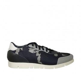 Zapato de sport para hombres con cordones en piel blanca y azul y tejido azul y gris - Tallas disponibles:  46, 47, 48
