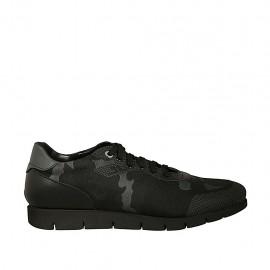 Zapato de sport para hombres con cordones en piel y tejido negro y gris - Tallas disponibles:  46, 47, 48