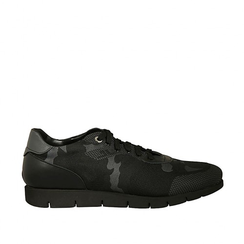Men's laced casual shoe in black and grey leather and fabric - Available sizes:  46, 47, 48