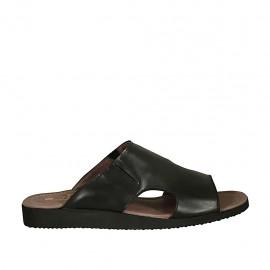 Mule pour hommes avec elastiques en cuir noir - Pointures disponibles:  46, 48, 49