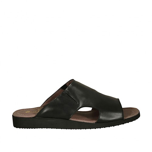 Men's mule with elastic bands in black leather - Available sizes:  46, 48, 49