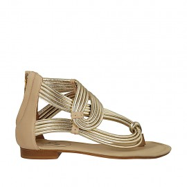 Woman's open thong shoe with zipper in beige and platinum laminated leather heel 1 - Available sizes:  33, 34, 42, 43, 44, 45