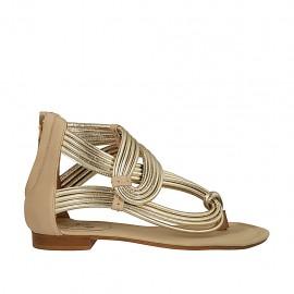 620f676b tallas pequeñas tallas grandes · Zapato abierto infradedo para mujer con  cremallera en piel beis y laminada platino tacon 1 -
