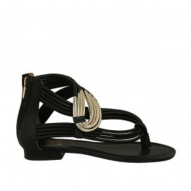 Woman's open thong shoe with zipper in black and platinum laminated leather heel 1 - Available sizes:  33, 34, 42, 43, 44, 45