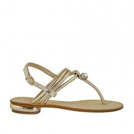 Sandalo infradito da donna con strass in pelle laminata e stampata platino tacco 1 - Misure disponibili: 33, 34, 42, 43, 44, 45