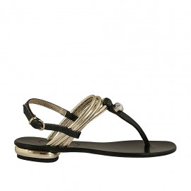 Woman's thong sandal with rhinestone in platinum laminated and printed black leather heel 1 - Available sizes:  33, 42, 44