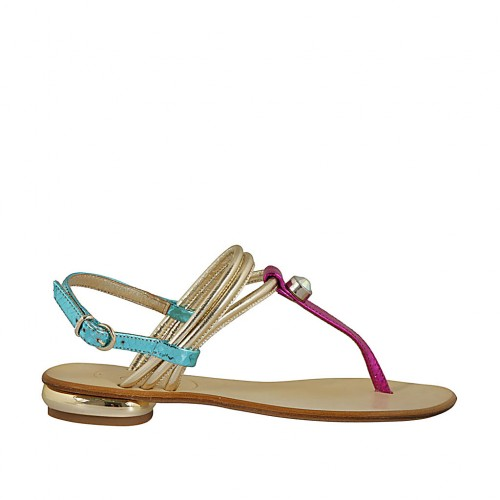 Woman's thong sandal with rhinestone in platinum laminated and light blue and fuchsia printed leather heel 1 - Available sizes:  34