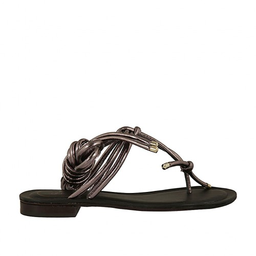 Woman's thong sandal with laces in gunmetal grey laminated leather heel 1 - Available sizes:  33, 34, 43